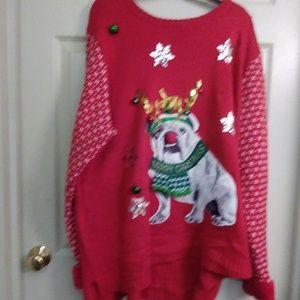 Holiday time bulldog Christmas sweater. Size3x